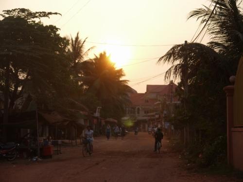 カンボジアの夕焼け。